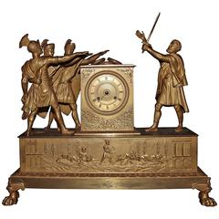 """Clock """"Oath of the Horatii"""", Signed """"Lepine à Paris"""", Early 19th Century"""