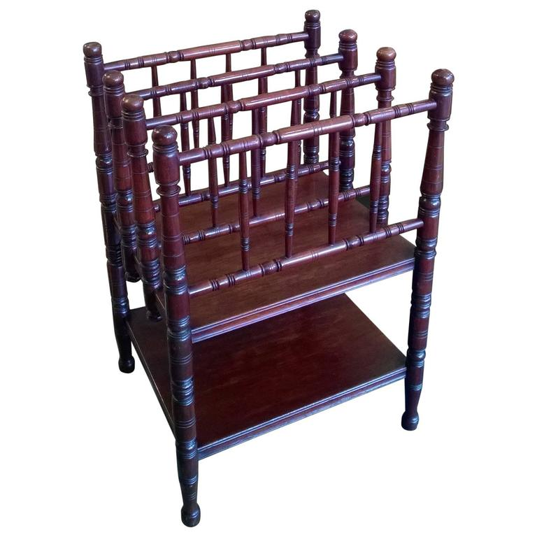 Victorian Aestetic Period Mahogany Canterbury For Sale