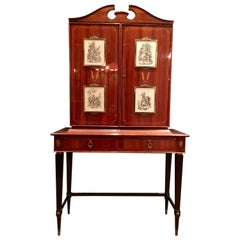 1960s Design Bar Cabinet, Inlaid and Decorated with Etchings