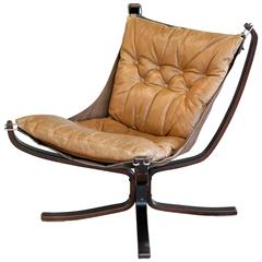 Falcon Chair in Cognac Colored Leather by Sigurd Ressell for Vatne Mobler Norway