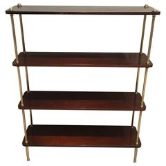 French 1940s Mahogany and Brass Shelving Unit