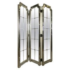 Hollywood Regency Style Three-Panel Mirror Screen