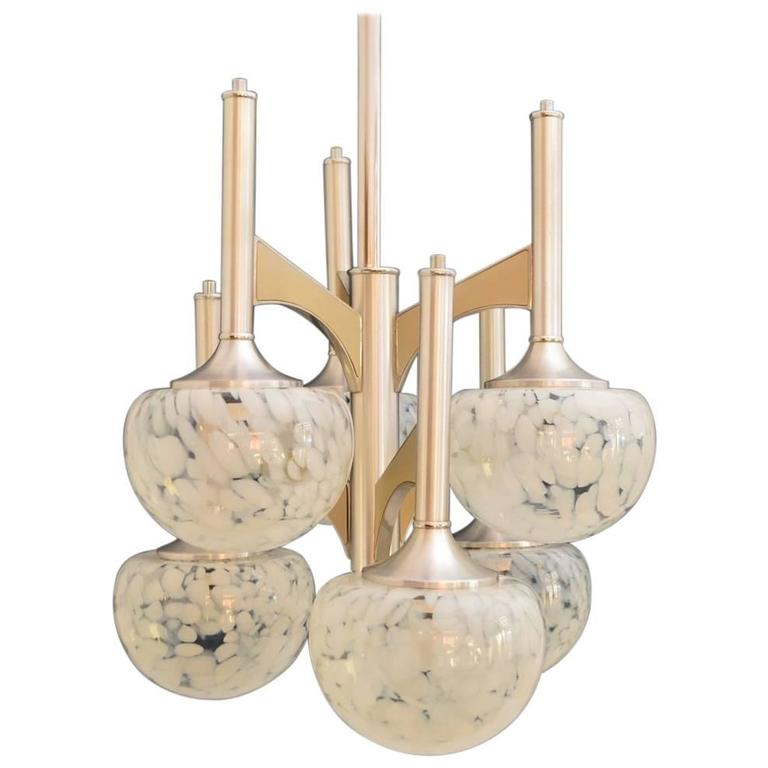 Italian Glass Globe and Chrome Chandelier by Sciolari, 1970s