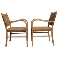 Pair of Scandinavian Modern Woven Armchairs