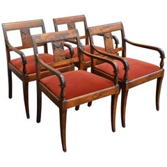Set of Four Vintage Swedish Neoclassical Style Armchairs