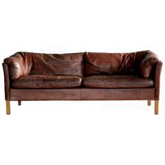 Mid-Century Danish Leather Three-Seat Sofa Model MH535 by Mogens Hansen