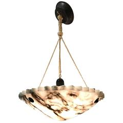 Early 20th Century Art Deco Pure White with Black Veins Alabaster Pendant Light