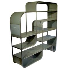 Bookcase/Shelving Unit Hand Fabricated from Reclaimed Steel by Midwestern Artist