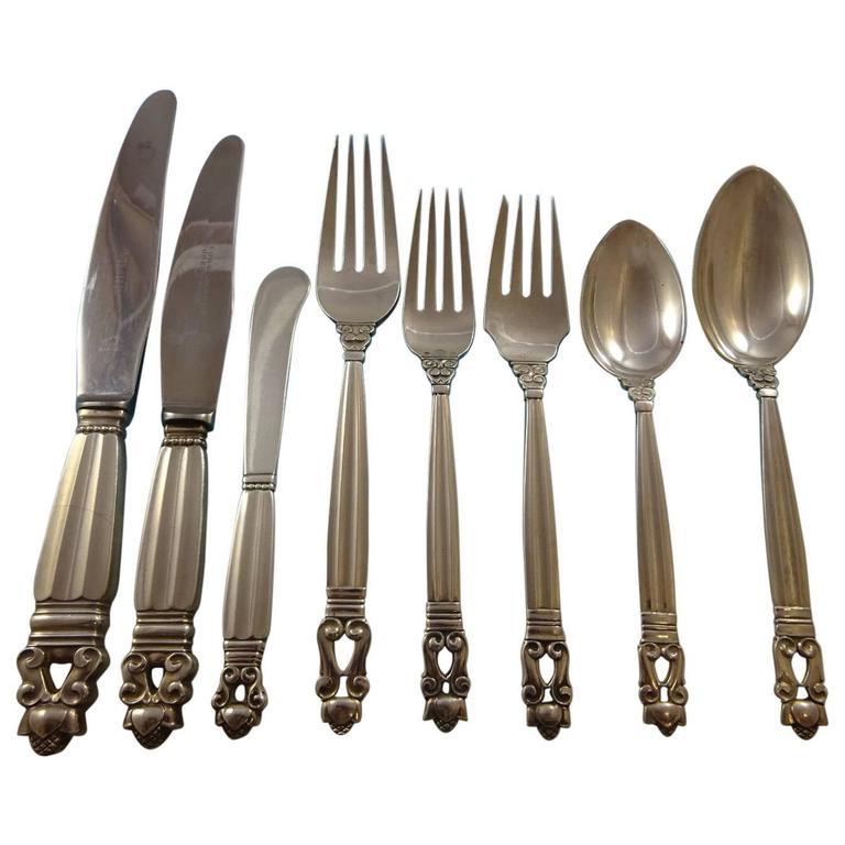 Acorn by Georg Jensen Sterling Silver Flatware Set for 12 Service Dinner Huge 1