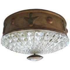 Early 20th Century Italian Murano Empire Style Gilt Tole and Glass Light Fixture