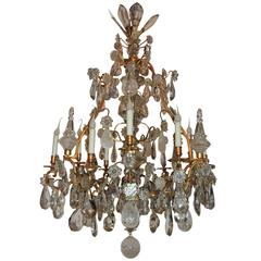 Large French Dore Bronze Rock Crystal Nine-Light Baguès Gilt Chandelier