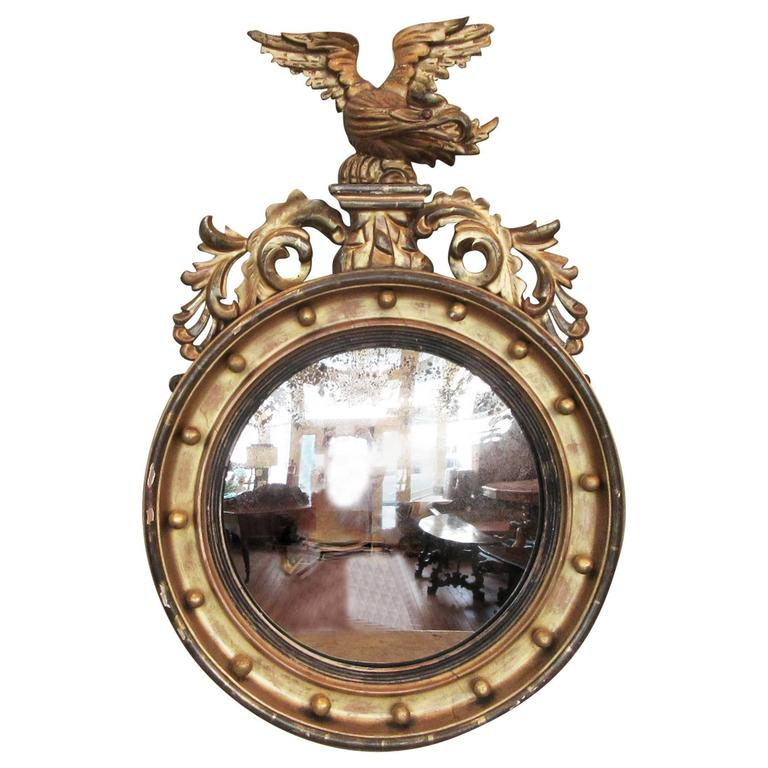 19th Century English Regency Giltwood Convex Mirror with Eagle and Acanthus