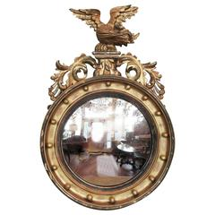 19th Century English Regency Giltwood Convex Mirror with Eagle and Acanathus
