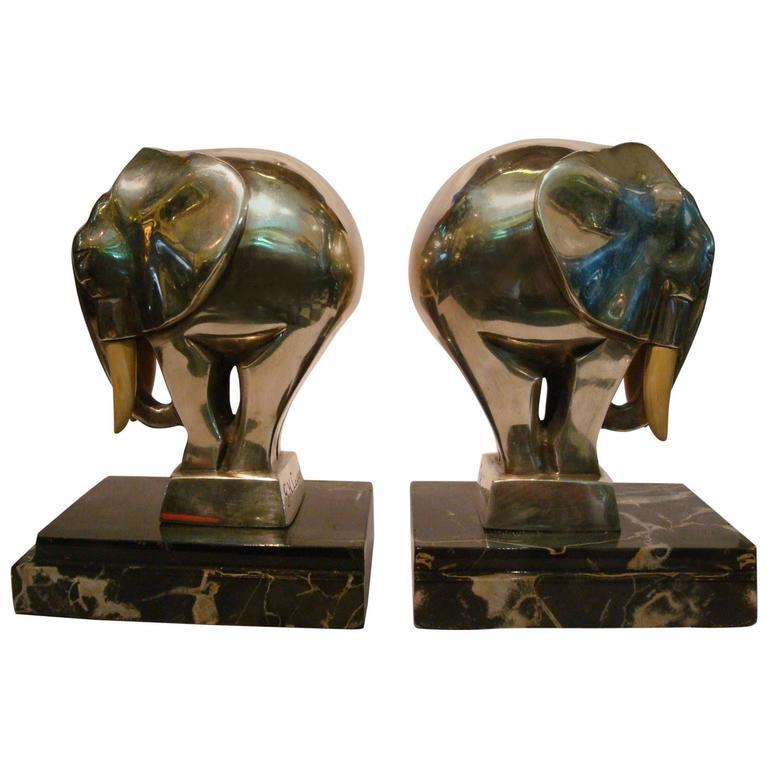 Fantastic Art Deco Elephant Bookends Signed G  H  Laurent, France, 1920s