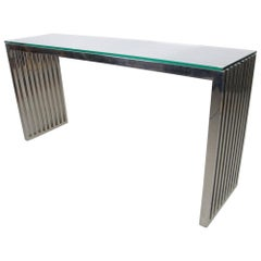 Chrome Slat and Glass Console