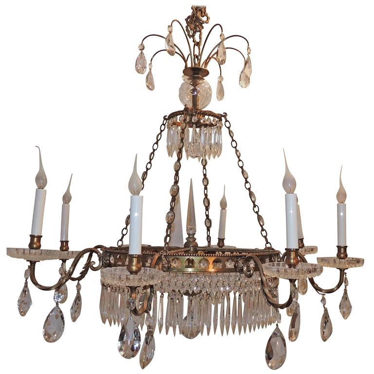 Wonderful French Bronze Regency Empire Crystal 12-Light Neoclassical Chandelier
