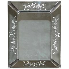 Diminutive French Deco Etched Wall Mirror
