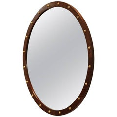 Round Brazilian Exotic Wood Mirror with Polished Brass Details