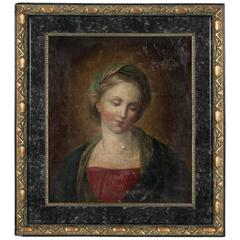 Antique 19th Century Original French Oil Painting Portrait of a Woman