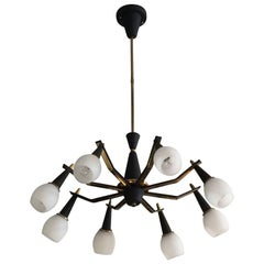 Eight-Arm Spider Style Vintage Italian Light Fixture