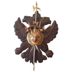 Vintage Spanish Sword Stand Carved Wood Coat of Arms Plaque, circa 1940s