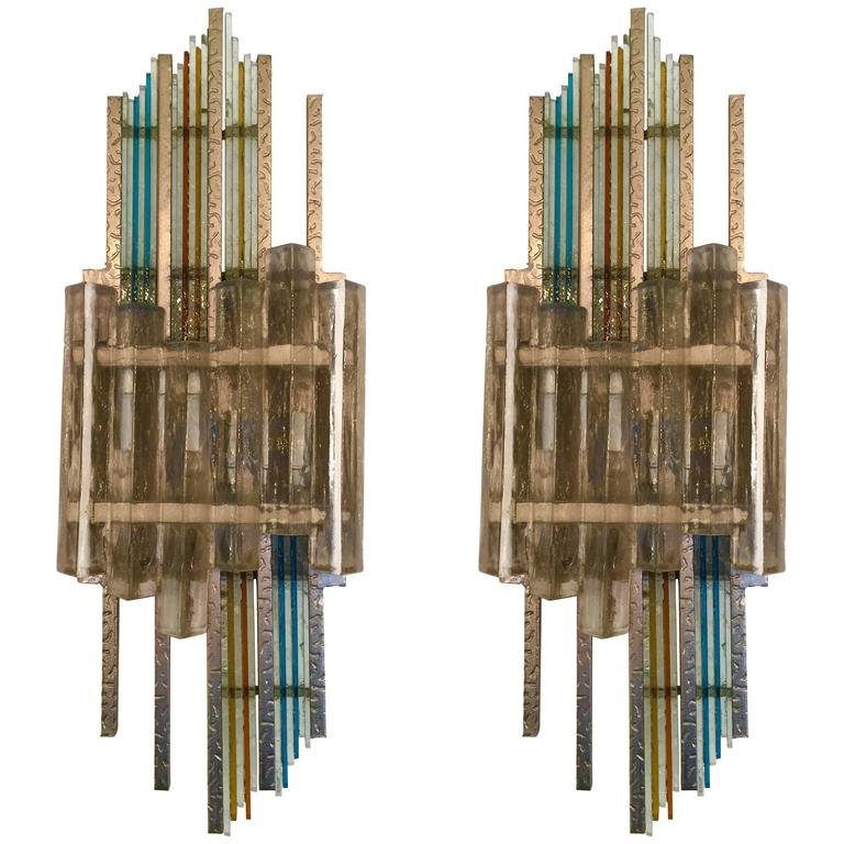 Pair of Sconces Poliarte, 1970s, Italy