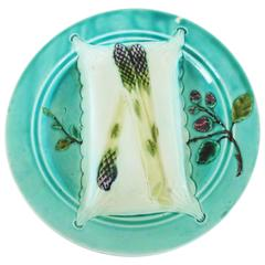 19th Century Majolica Turquoise Asparagus Plate Luneville