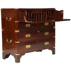 English Mahogany Campaign Chest of Drawers with Writing Surface