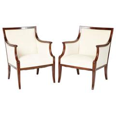 Pair of Frits Henningsen Mahogany and Upholstered Armchairs, circa 1940s