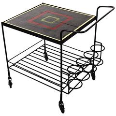 Metal and Tile Bar Cart