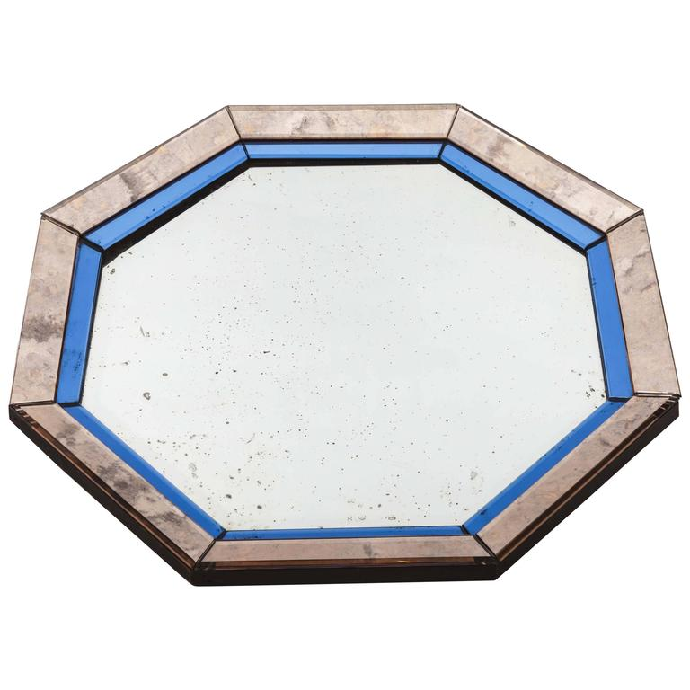 Octagonal Mirror with Blue and Antiqued Silver Frame For Sale