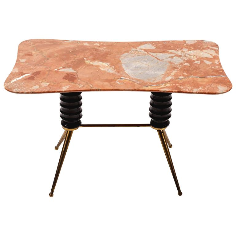 Brass Coffee Table Base with Bimorphic Shaped Rose Marble Top For Sale