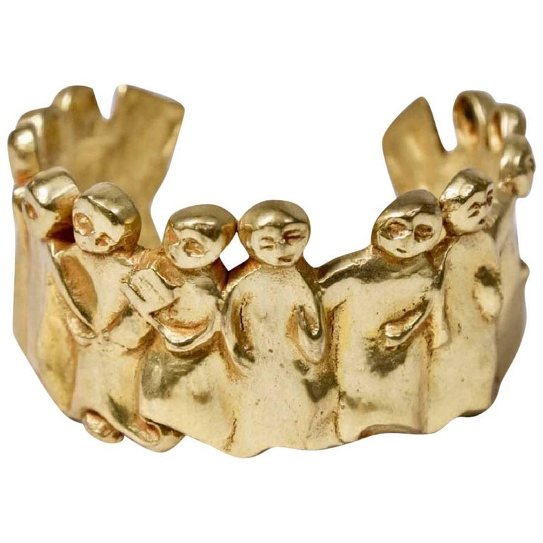 "Bronze Bracelet 'La Manif"" by Line Vautrin For Sale"