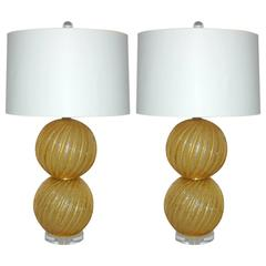 Matched Pair of Vintage Pulegoso Murano Ball Table Lamps in Gold