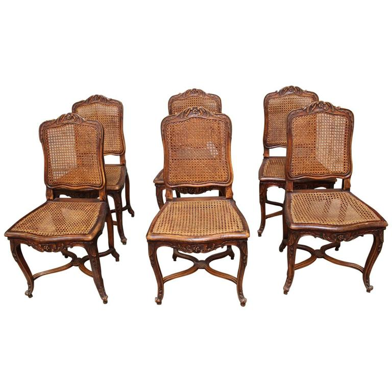 Set Of Six French Louis XV Style Caned Dining Chairs For Sale At 1stdibs
