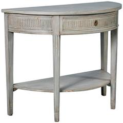 Antique 19th Century Swedish Gustavian Demilune Console Table Painted Gray