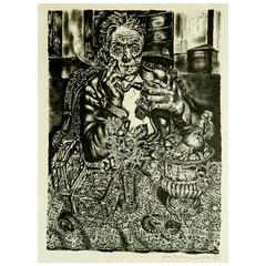 "Ivan Albright Lithograph, 1947, ""Self Portrait at 55th East Division Street"""