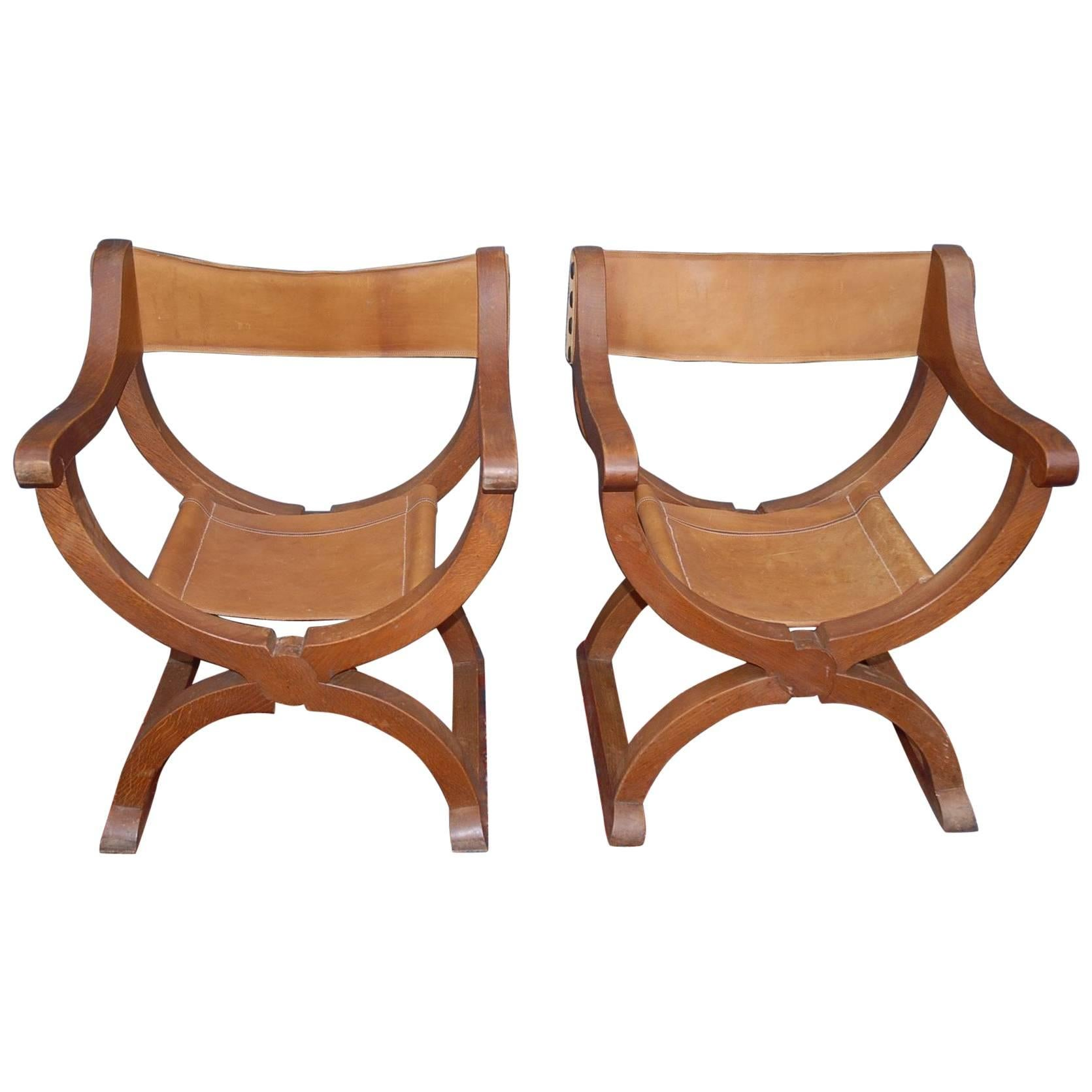 Rare Midcentury Pair Oak X-frame Dagobert Armchairs with Leather Seats and Back