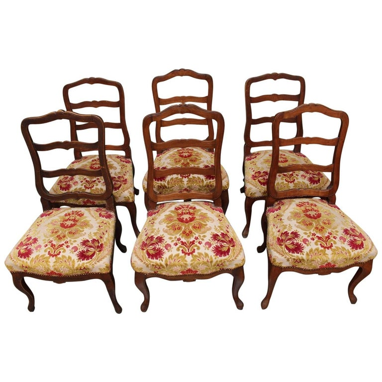 Set of Six Swiss Walnut Dining Chairs For Sale
