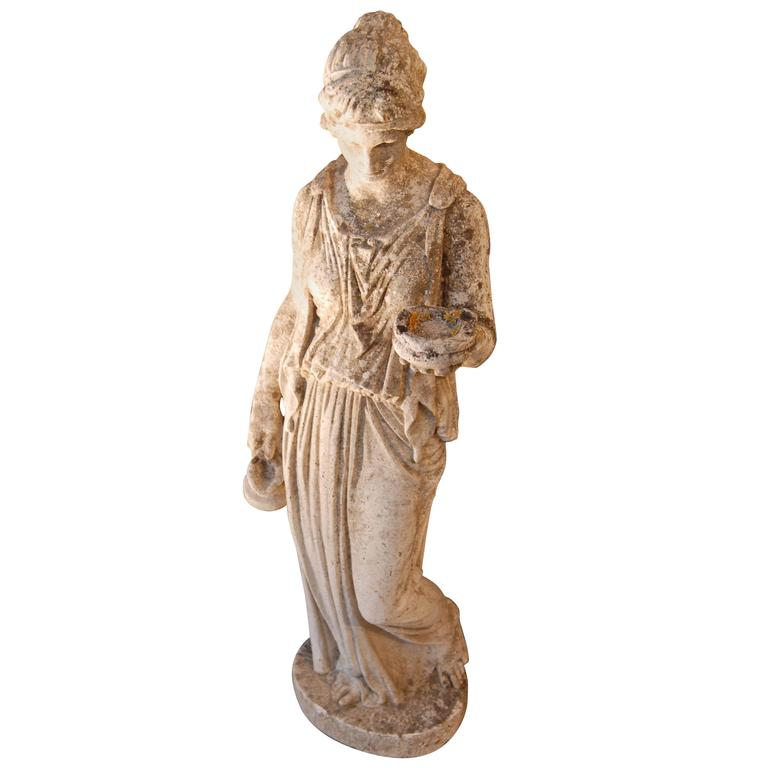 "19th Century Classical Limestone Statue ""the Hebe"" 1"
