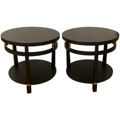 Pair of Round Black Lacquer Tables with Brass Detail