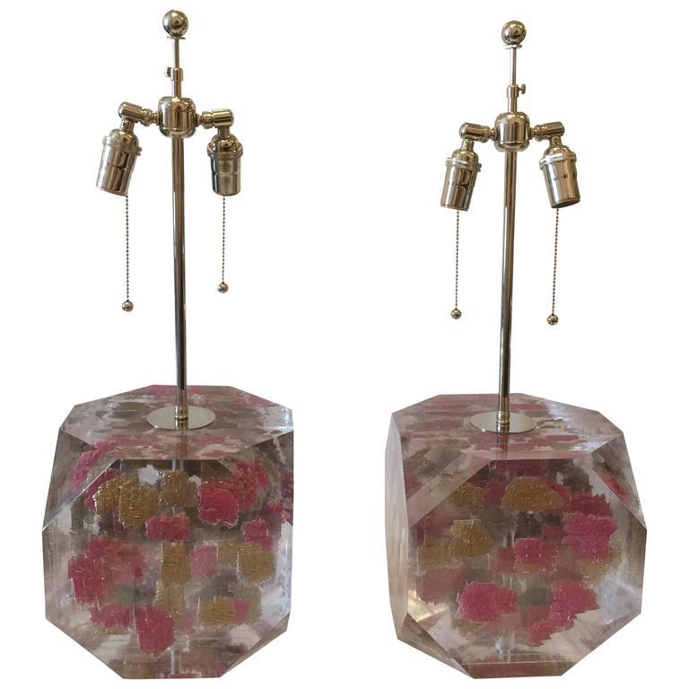 Lucite Layered Hexagonal Block Lamps, Pair by Freda Koblick