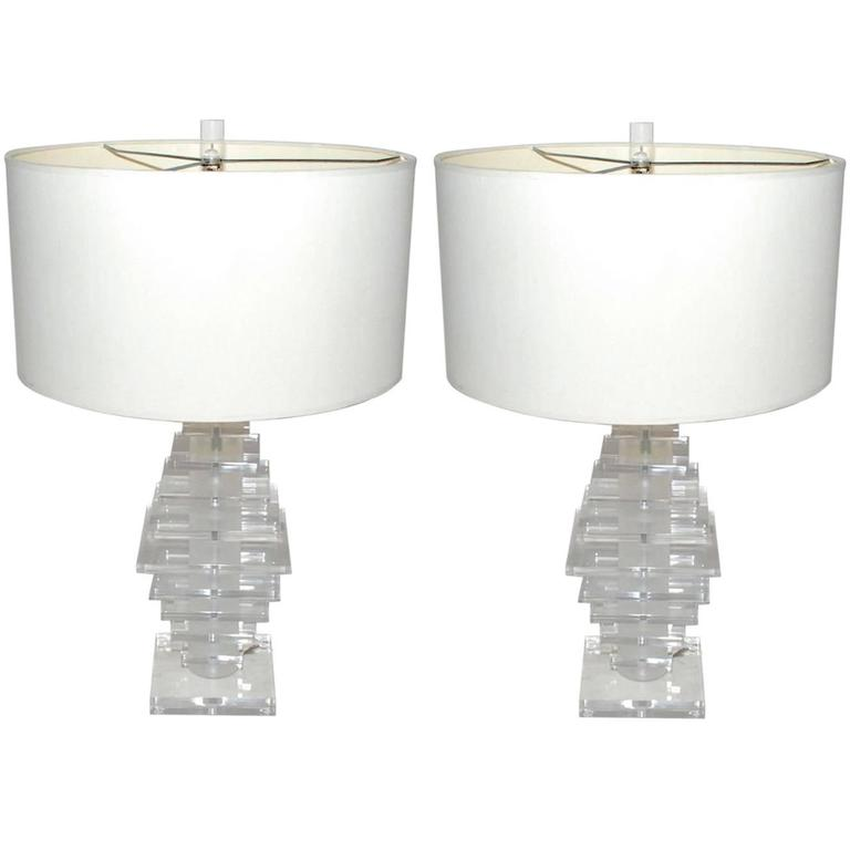 1970s Pair of Lucite Table Lamps