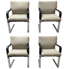 Set of Four Matteo Grassi Stitched Leather and Chrome Dining Chairs