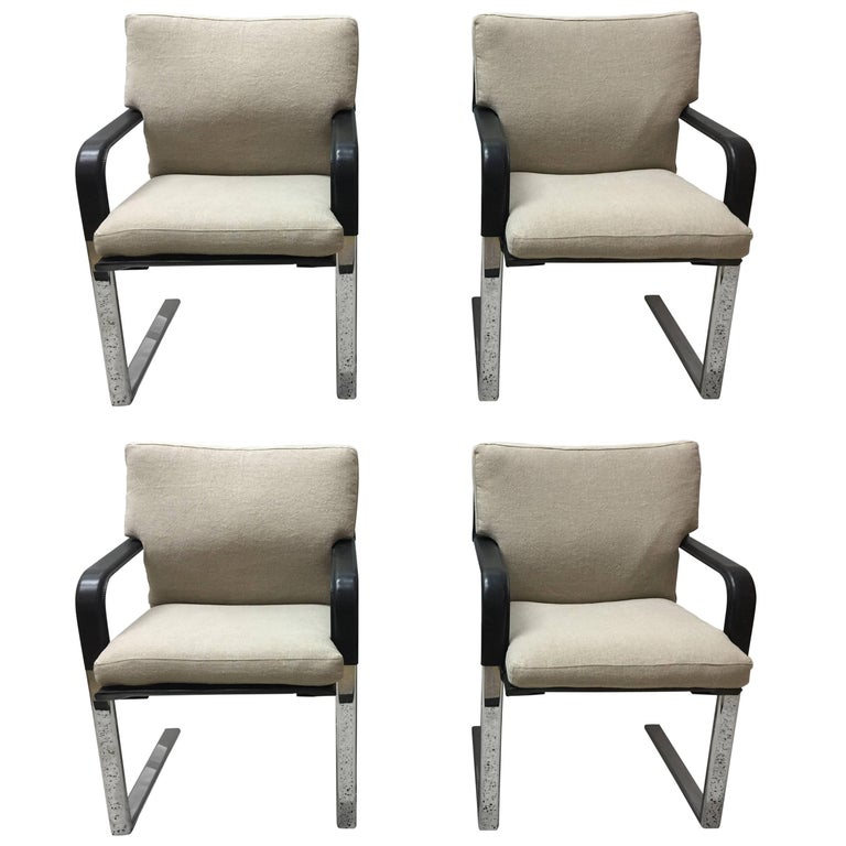 Set of Four Matteo Grassi Stitched Leather and Chrome Dining Chairs 1