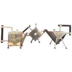 Set of Machine-Era Silver Plated Teapots