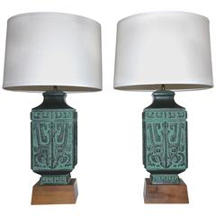 Pair of James Mont Style Asian Patinated Bronze Table Lamps