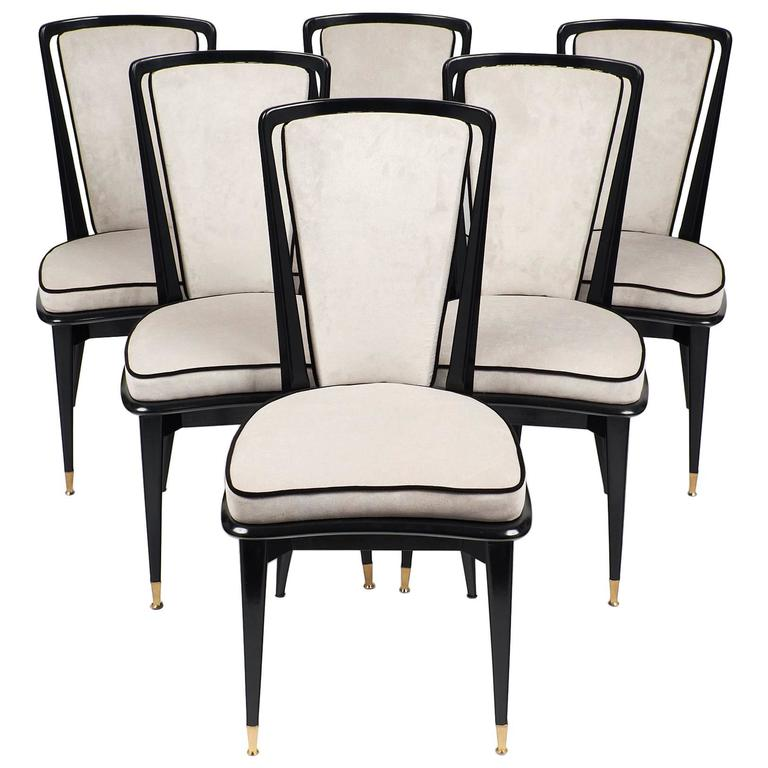 this vintage french dining chairs with ebonized wood frames is no