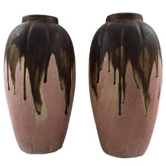 Gilbert Metenier, French Ceramist Pair of Art Deco Pottery Vases