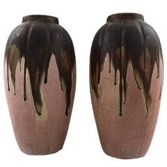 Gilbert Metenier, French Ceramist Pair of Art Deco Pottery Vases